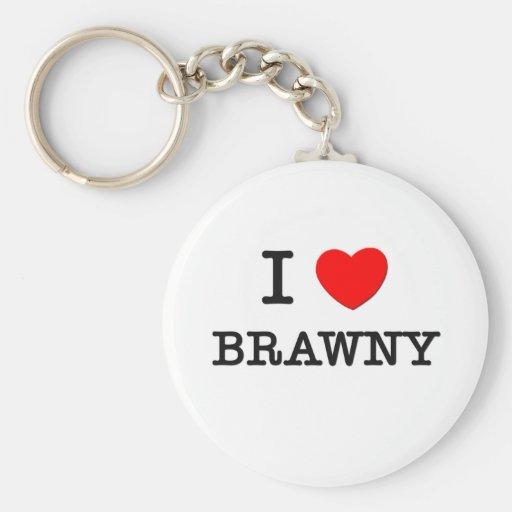 I Love Brawny Basic Round Button Keychain