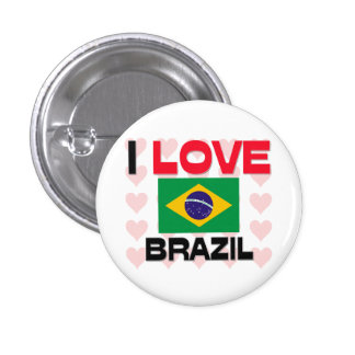 I Love Brazil 1 Inch Round Button