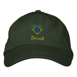 I Love Brazil Cap - Brazilian Heart Flag Hat