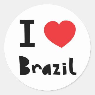 I love Brazil Classic Round Sticker