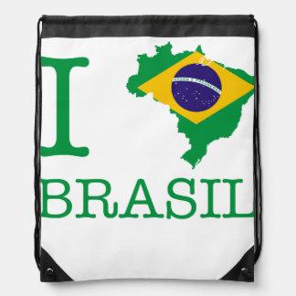 I Love Brazil Drawstring Bag