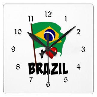 I Love Brazil, flag of Brazil Square Wall Clock