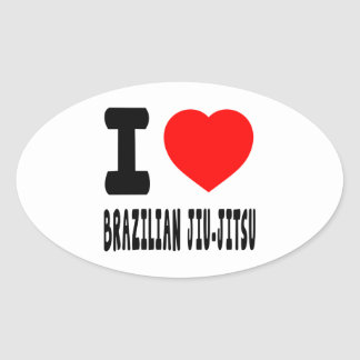 I Love Brazilian Jiu-Jitsu Oval Sticker
