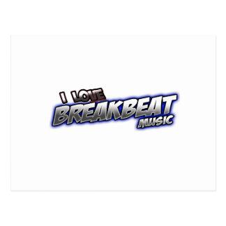 I Love BREAKBEAT music Postcard