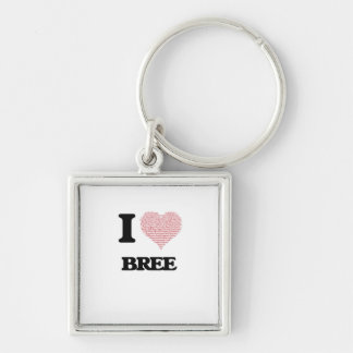 I love Bree (heart made from words) design Silver-Colored Square Keychain