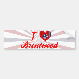 I Love Brentwood, Tennessee Car Bumper Sticker