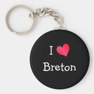 I Love Breton Basic Round Button Keychain