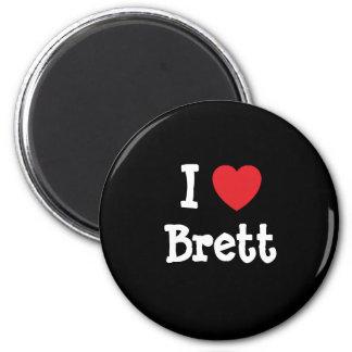 I love Brett heart custom personalized 2 Inch Round Magnet