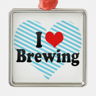 I Love Brewing Square Metal Christmas Ornament