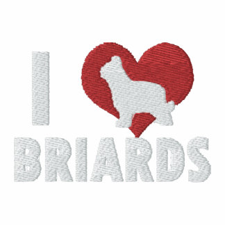 I Love Briards Embroidered Shirt (T-Shirt)