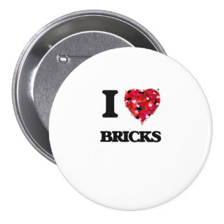 I Love Bricks 3 Inch Round Button