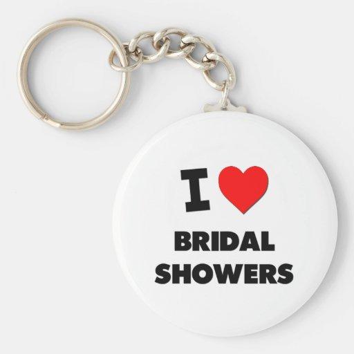I Love Bridal Showers Basic Round Button Keychain