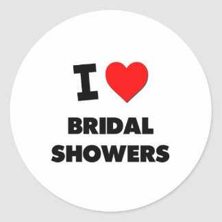 I Love Bridal Showers Round Stickers