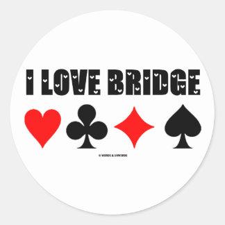 I Love Bridge (Bridge Game) Classic Round Sticker