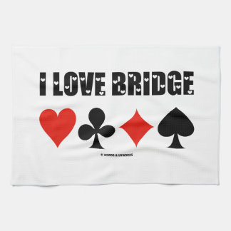I Love Bridge Card Suits Bridge Attitude Hand Towel