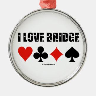 I Love Bridge Card Suits Bridge Attitude Metal Ornament