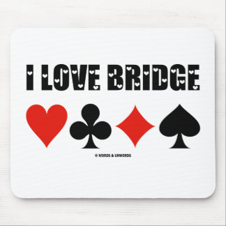 I Love Bridge (Four Card Suits) Mouse Pad