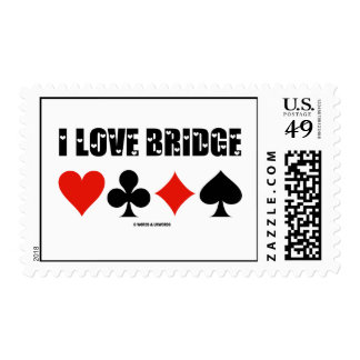 I Love Bridge (Four Card Suits) Postage Stamp