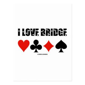 I Love Bridge Four Card Suits Postcards