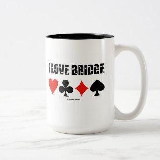 I Love Bridge (Four Card Suits) Two-Tone Coffee Mug