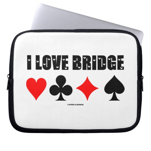 I Love Bridge (Love Letter Font Four Card Suits) Computer Sleeves