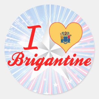 I Love Brigantine, New Jersey Round Stickers