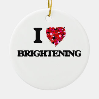 I Love Brightening Double-Sided Ceramic Round Christmas Ornament