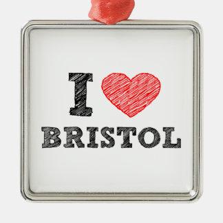 I-love-Bristol Metal Ornament