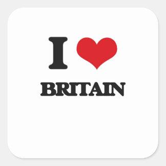 I Love Britain Square Sticker