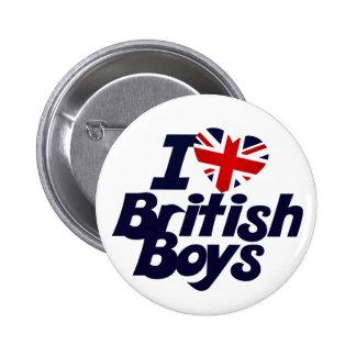I Love British Boys Pinback Buttons