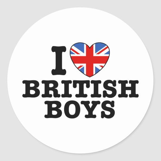 I Love British Boys Classic Round Sticker