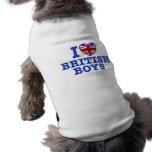 I Love British Boys Dog Tshirt