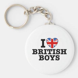 I Love British Boys Basic Round Button Keychain