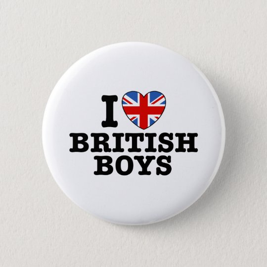 I Love British Boys Pinback Button