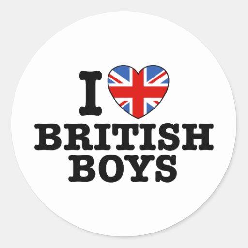I Love British Boys Round Sticker