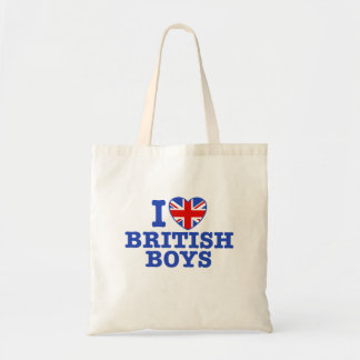 I Love British Boys Tote Bag