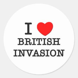 I Love British Invasion Round Stickers