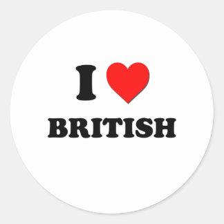I Love British Round Sticker