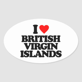 I LOVE BRITISH VIRGIN ISLANDS OVAL STICKER