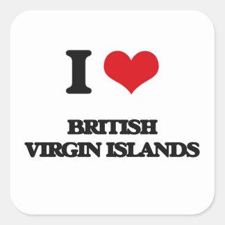 I Love British Virgin Islands Square Sticker