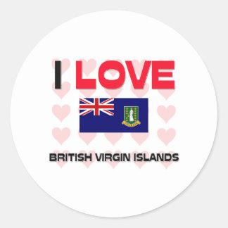 I Love British Virgin Islands Classic Round Sticker