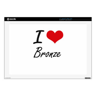 "I Love Bronze Artistic Design Decals For 17"" Laptops"