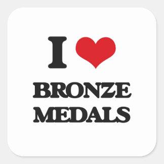 I Love Bronze Medals Square Sticker
