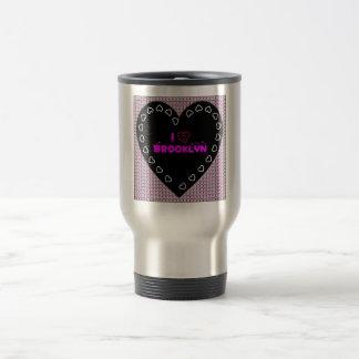 I Love Brooklyn Diamonds and Hearts Travel Mug