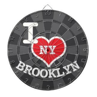 I Love Brooklyn NY Charcoal Gray Dart Board