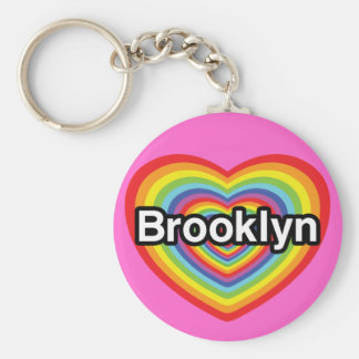 I love Brooklyn: rainbow heart Basic Round Button Keychain