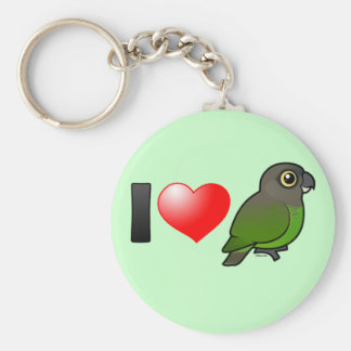 I Love Brown-headed Parrots Basic Round Button Keychain
