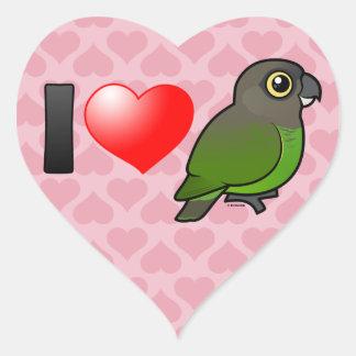 I Love Brown-headed Parrots Heart Sticker