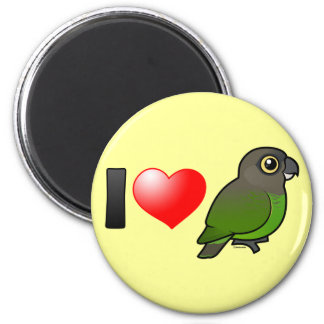 I Love Brown-headed Parrots 2 Inch Round Magnet