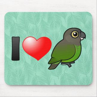 I Love Brown-headed Parrots Mousepads